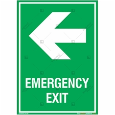 Emergency Exit Signs with Left Arrow in Portrait