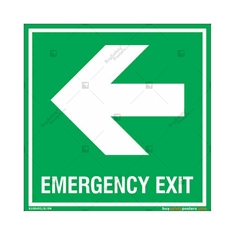 Emergency Exit Signs with Left Arrow in Square