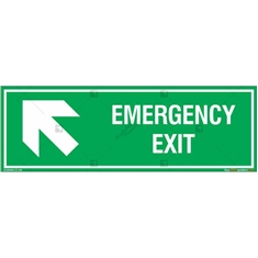 Emergency Exit Signs with Left Up Arrow in Rectangle