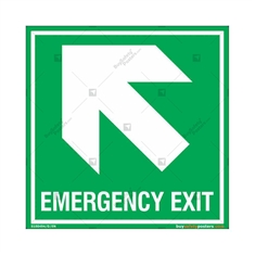 Emergency Exit Signs with Left Up Arrow in Square