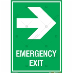 Emergency Exit Signs with Right Arrow in Portrait