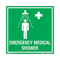 Emergency Medical Shower Sign in Square