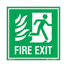 Fire Exit Sign in Square