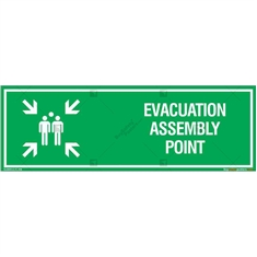 Evacuation Assembly Point Sign in Rectangle