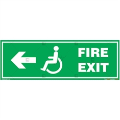 Fire Exit Signs for Disabled People in Rectangle