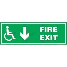 Fire Down Exit Sign for Disabled People in Rectangle