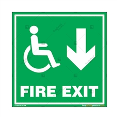 Fire Down Exit Sign for Disabled People in Square