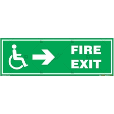 Fire Right Exit Sign for Disabled People in Rectangle