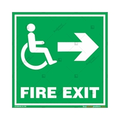 Fire Right Exit Sign for Disabled People in Square