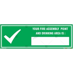 Fire Assembly Point Sign in Rectangle