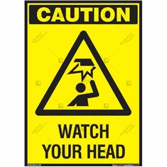 Watch your Head Sign in Portrait